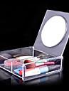 acrilico caja de almacenamiento de cosmeticos 1x2 cuadrado transparente con espejo cosmetico del organizador