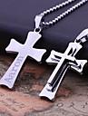 La cruz del acero inoxidable personalizada Tres Regalos en forma de capa de la joyeria collar colgante grabado (Dentro de 10 caracteres)