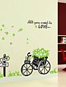 1шт красочные съемный велосипед с цветами стикер стены