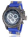 Style militaire Caisse noire de quartz de bande de montre-bracelet de silicone des hommes (couleurs assorties)