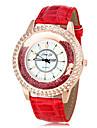 여성의 회전 구슬 다이아몬드 케이스 PU 밴드 석영 손목 시계 (분류 된 색깔)