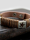 Z&x® старинные картины звезды 25см мужской черный кожаный браслет (кофе, черный, белый, красный) (1 шт)
