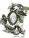 Women\'s Bohemia Style Green Crystal Leaf Style Silver Alloy Quartz Bracelet Watch