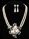 Gift For Mother Fashion Flower Shape  Alloy (Necklaces&Earrings&) Pearl Jewelry Sets