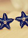 Синий Морская звезда серьги с бриллиантами шпильки