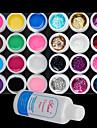 25PCS Mixs Color UV Color Gel within 12 Pure+12 Glitter Hexagon Sheet+Cleanser Plus(Random Color)