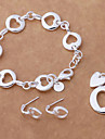Fashion Silver Plated Necklace Earring Bracelet Jewelry Set(1 Set)
