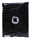 Protective Hard PU Crocodile Grain Leather Cases for iPad 2/3/4 (Black)
