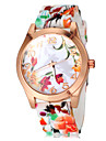 Women\'s Colorful Flower Pattern Silicone Band Quartz Wrist Watch