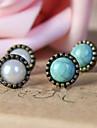 Vintage Bronze Boucles d'oreilles Cuivre (blanc, vert) (1 paire)