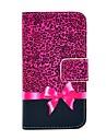 COCO FUN ® Cas Leopard Violet Motif Portefeuille  Carte Slots cuir PU avec support pour iPhone 4S Inclus Film et Stylet