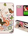 Butterfly Pattern Card Slot Magnetic Flip Stand Hard PC+PU Leather Case for LG G2 Mini D610