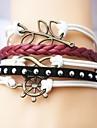 Alloy Anchor Leaf and Infinite Multilayer Handmade Leather Bracelets