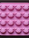 Forma de porco 16 buracos molde moldes de chocolate bolo, silicone 17,5 × 17,5 × 1,5 cm (6,9 × 6,9 × 0,6 polegadas)