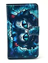 Cute Blue Cat Pattern PU Leather Cover Full Body Case with Card Slot for Nokia Lumia N520