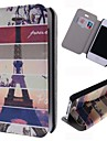 Cartoon Eiffel Tower Pattern Leather Full Body Case with Card Slot for iPhone 4/4S