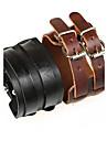 двойной пряжки ретро унисекс широкий кожаный браслет