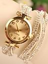 relógio de estilo casual diy banda pedra preciosa ouro quartzo discagem de pulso analógico das mulheres (cores sortidas)