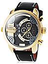Dual Time style militaire montre-bracelet en cuir bande zones de quartz des hommes