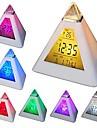 Coway 7 הוביל שינוי צבעים בצורת פירמידת מנורת לילה מדחום לוח השנה שעון מעורר דיגיטלית