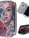 crânes de bande dessinée modèle marilyn pleine cas de corps avec le stand pu étui en cuir pour les i9300 Samsung Galaxy S