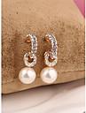Corée arc long blanc perle plaqué or 18k boucles d'oreille pour les femmes dans les bijoux