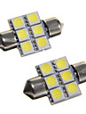 6*5050 SMD LED 31mm Car Interior Dome Festoon White Bulb Light (DC12V 2PCS)