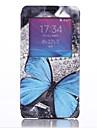 modelo azul mariposa abra la cubierta de cuero ventana con soporte para Samsung Galaxy Note 4