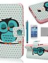 Coco Fun® modelo lindo del buho el dormir estuche de cuero pu con protecter pantalla y stylus para mini i9190 samsung galaxy s4