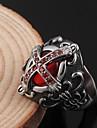 aco inoxidavel moda vampiro gotico embutidos cruz zircao rubi aneis dos homens (1 pc)
