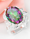 Holiday Gift Oval Rainbow Mystic Topaz Gemstone Silver Wedding Ring 1PC