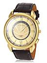 Heren Dress horloge Kwarts PU Band Bruin Merk-