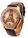 Персонализированные модные женские часы роскоши алмазов Эйфелева башня пу группы