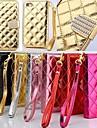 아이폰 4 / 4S를위한 스탠드와 카드 슬롯이있는 지갑 스타일 그리드 디자인 패턴 PU 전체 바디 커버 (모듬 색상)