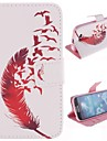 Red Feather Design PU Leather Full Body Protective Case with Stand for Samsung Galaxy S4 I9500