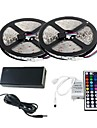 2 × 5m 300x3528 SMD RGB LED strip licht en 44Key afstandsbediening en 6a uk voeding (AC110-240V)