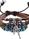 pulseiras de couro lureme®fashion multi-contas de tom turquesa pulseira de couro trancado