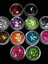 Блестки для украшения акриловых ногтей, 3 мм, 12 цветов
