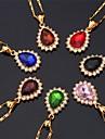 Women\'s Choker Necklaces Pendant Necklaces Imitation Diamond Gemstone Gem Rhinestone Gold Plated Simulated Diamond FashionRed Green Blue