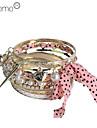 Lureme®Alloy Fabric Bracelet Multilayer Rose Gold Color Plated Bracelet