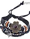 Lureme®Vintage Alloy Flower Pattern Multi-row Woven Bracelet