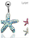 Lureme®Silver Plated Stainless Steel Rhinestones Starfish Navel/Ear Piercing(Random Color)  Christmas Gifts
