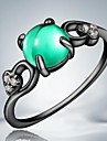 European Green Opal Black Gold Plated Alloy Statement Rings(1pc)
