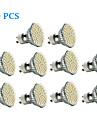 3W GU10 LED Spotlight 60 SMD 3528 240 lm Warm White / Cool White AC 220-240 V 10 pcs