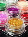 12Pcs Mixed Color Glitter Powder Nail Art Decorations