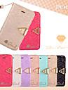 leiers®vogue portefeuille en cuir de soie brillante armure bling diamant bascule fente pour carte Housse pour iPhone 4 / 4s (couleurs