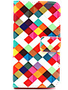 Square Pattern PU Leather Case with Magnetic Snap and Card Slot for Nokia Lumia 630