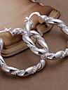 Серьги-кольца Медь Серебрянное покрытие Мода Серебряный Бижутерия Для вечеринок Повседневные 2 шт.