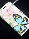 Rose Butterfly Pattern PU Leather Flip  Protective Case with Magnetic Snap and Card Slot for iPhone 5C