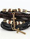 Vilam® Vintage Crucifix Wood Bead Black/Brown Handmade Woven Leather Bracelet Jewelry Christmas Gifts